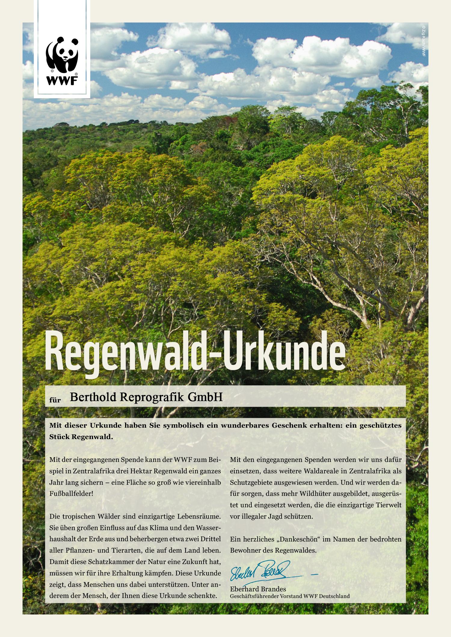 Regenwald-Urkunde